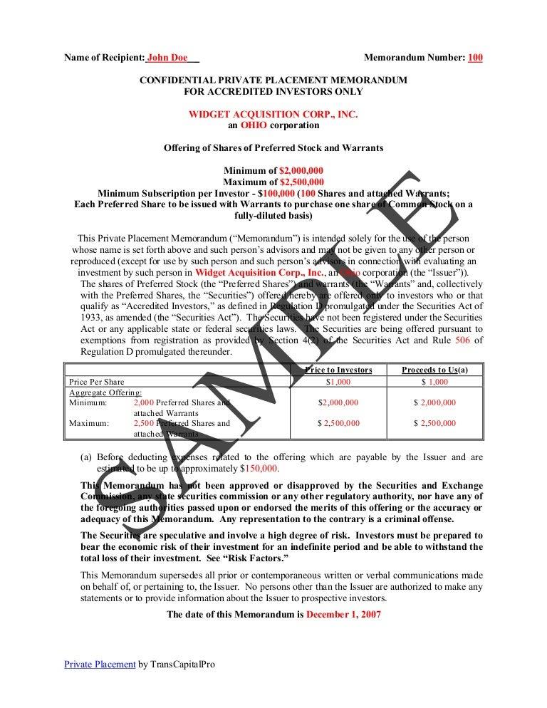 Placement Memorandum Sample