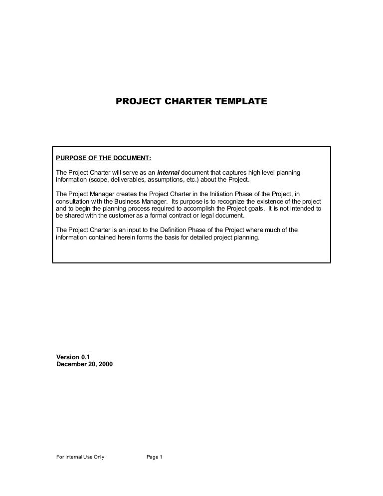 Sample ProjectCharterTemplate