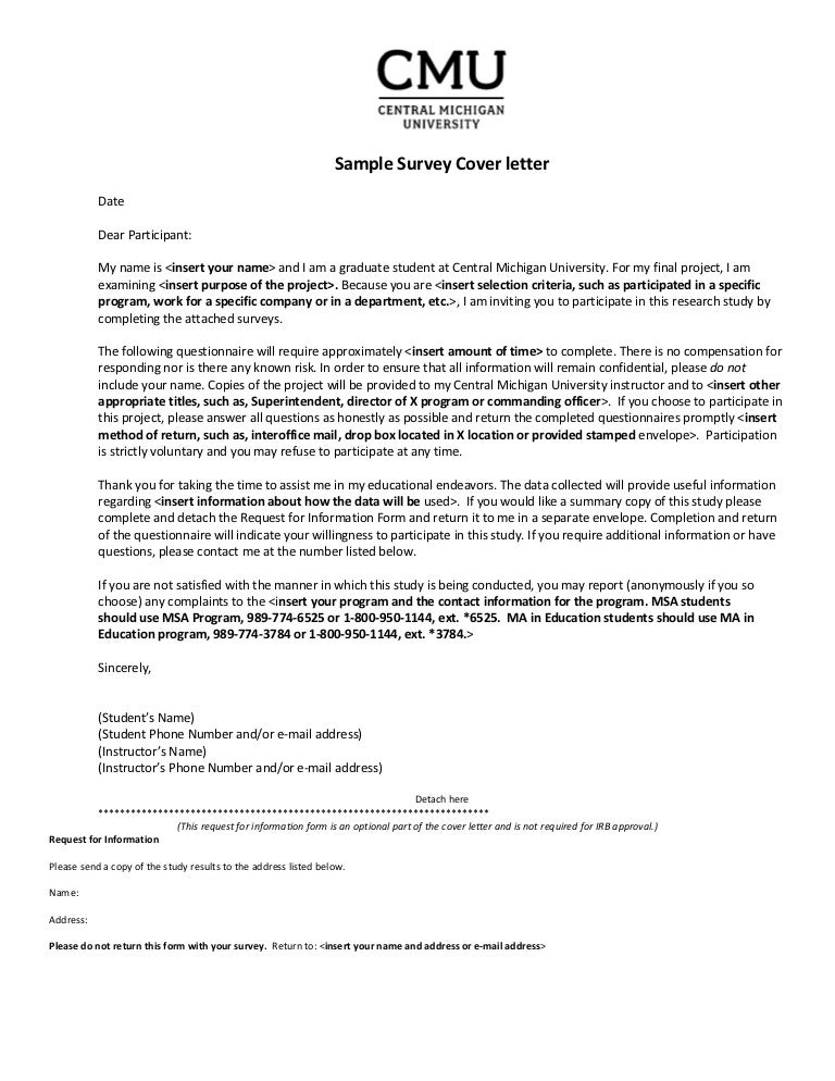 Sample SurveyCoverLetter