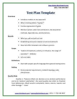 website test plan template