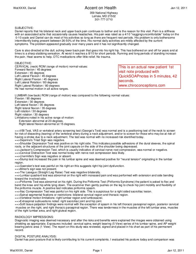 Patient Note Click On The Image To See Sample Typed Pt Notes Usa