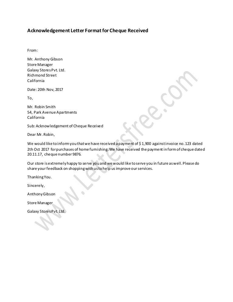 Acknowledgement Letter Sample from cdn.slidesharecdn.com