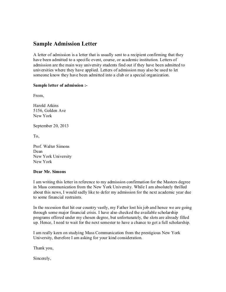 letter writing format sample admission letter 28613