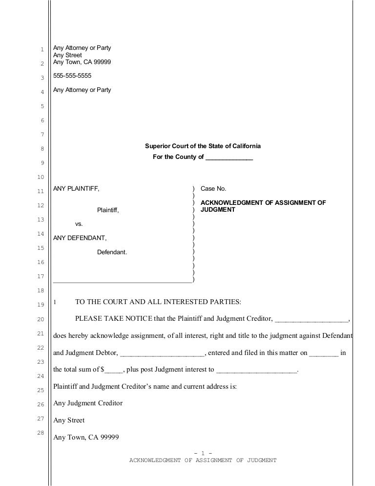 Sample acknowledgment of assignment of judgment in California