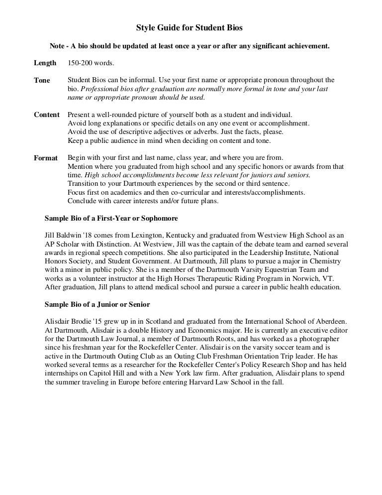 high school reunion biography examples