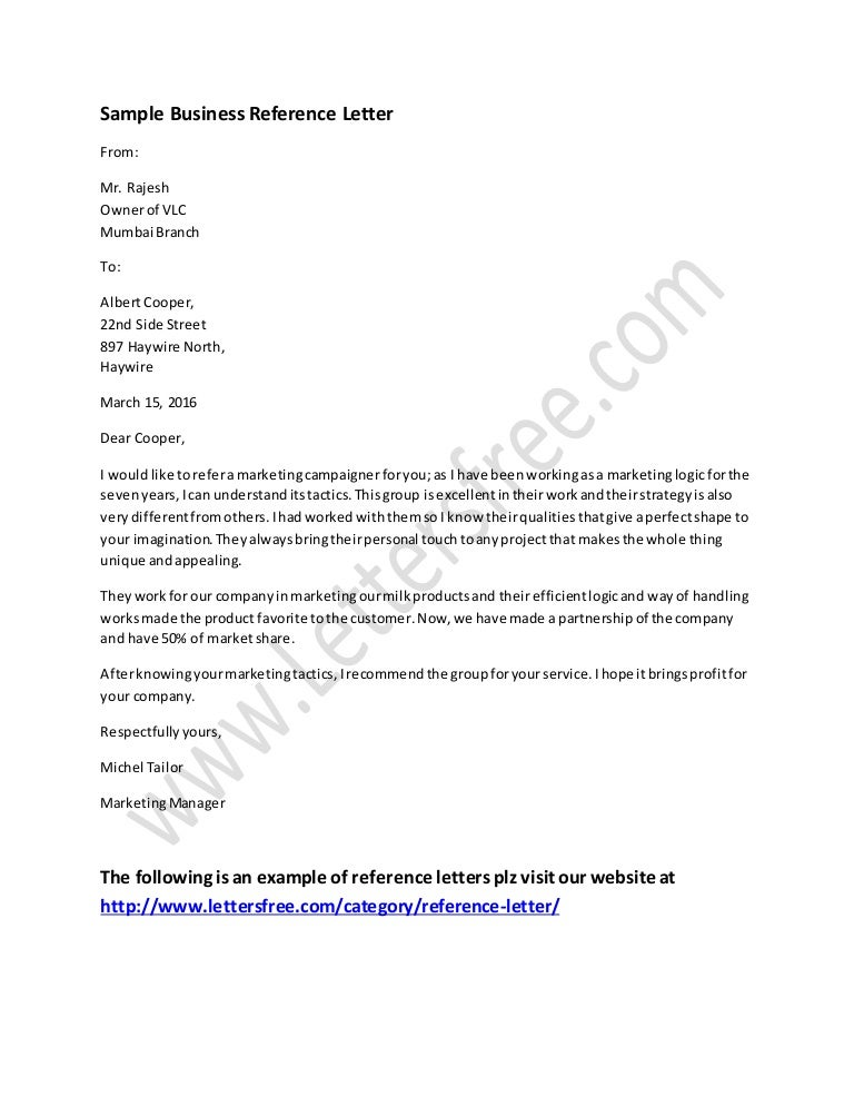 Business reference letter example expocarfo