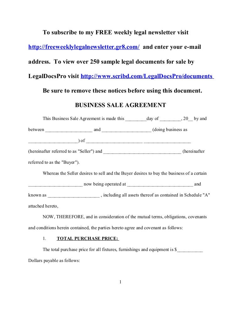 Sample business sale agreement – Sample Sales Agreement