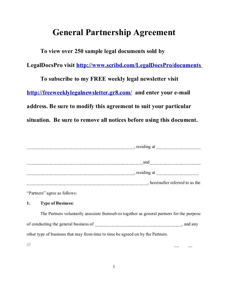 Sample General Partnership Agreement for California