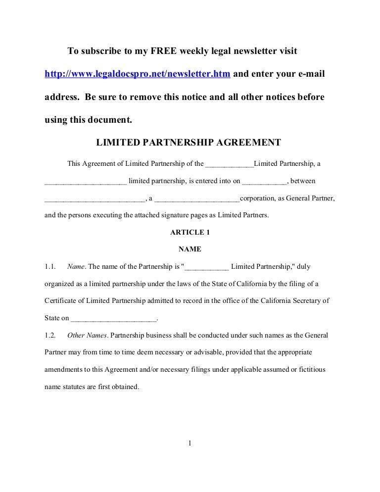 Sample California Limited Partnership Agreement