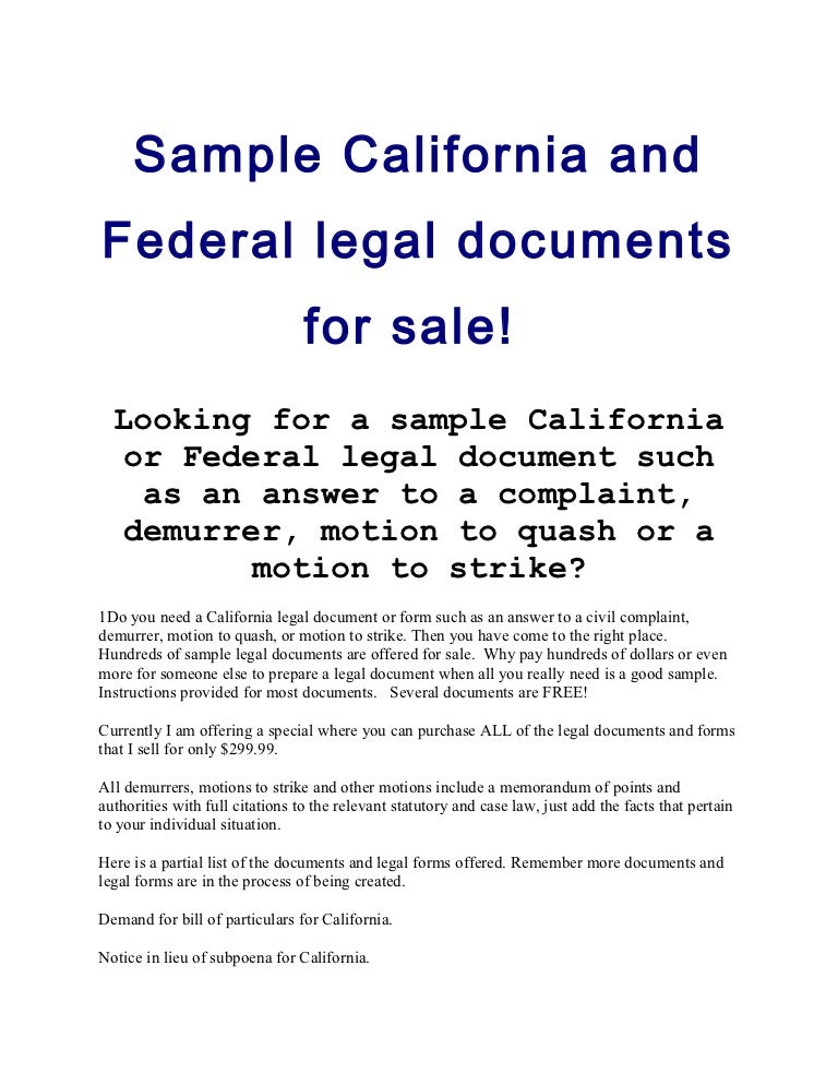sample law documents