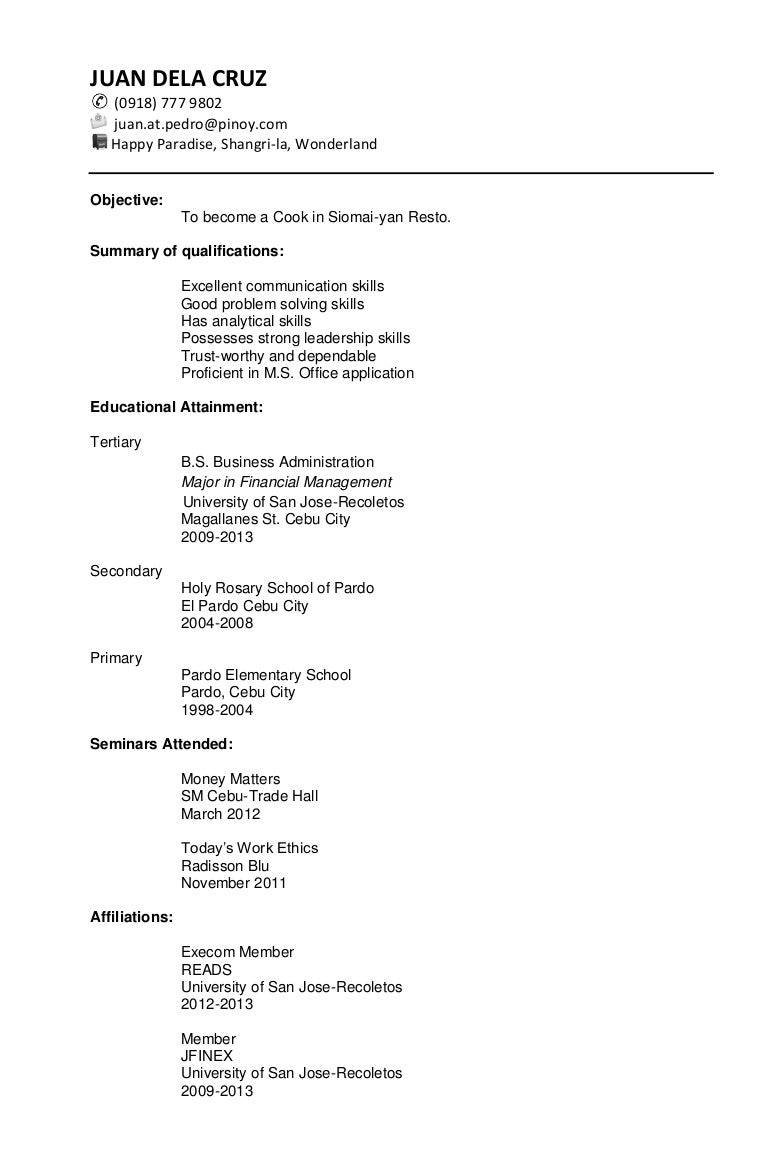 sample chronological resume - Sample Chronological Resume Template