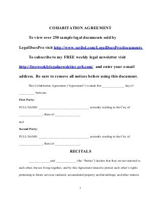 Sample Cohabitation Agreement  Resume Template Sample