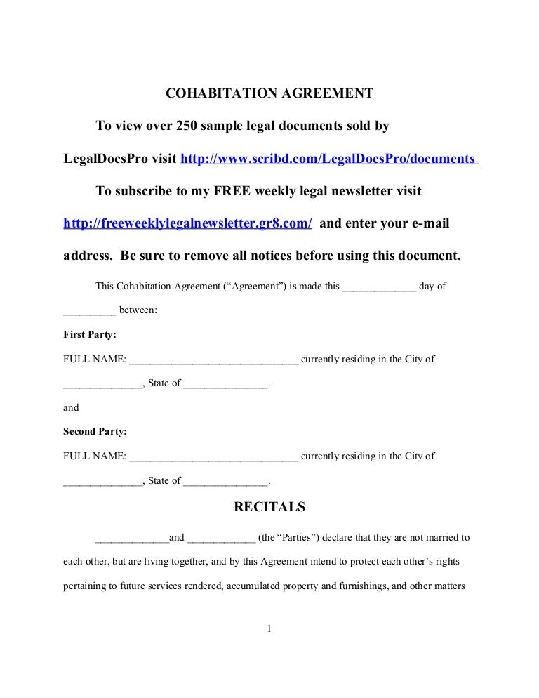 Sample cohabitation agreement – Sample Cohabitation Agreement Template