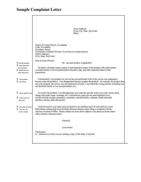 SlideShare  Complaint Letter Model
