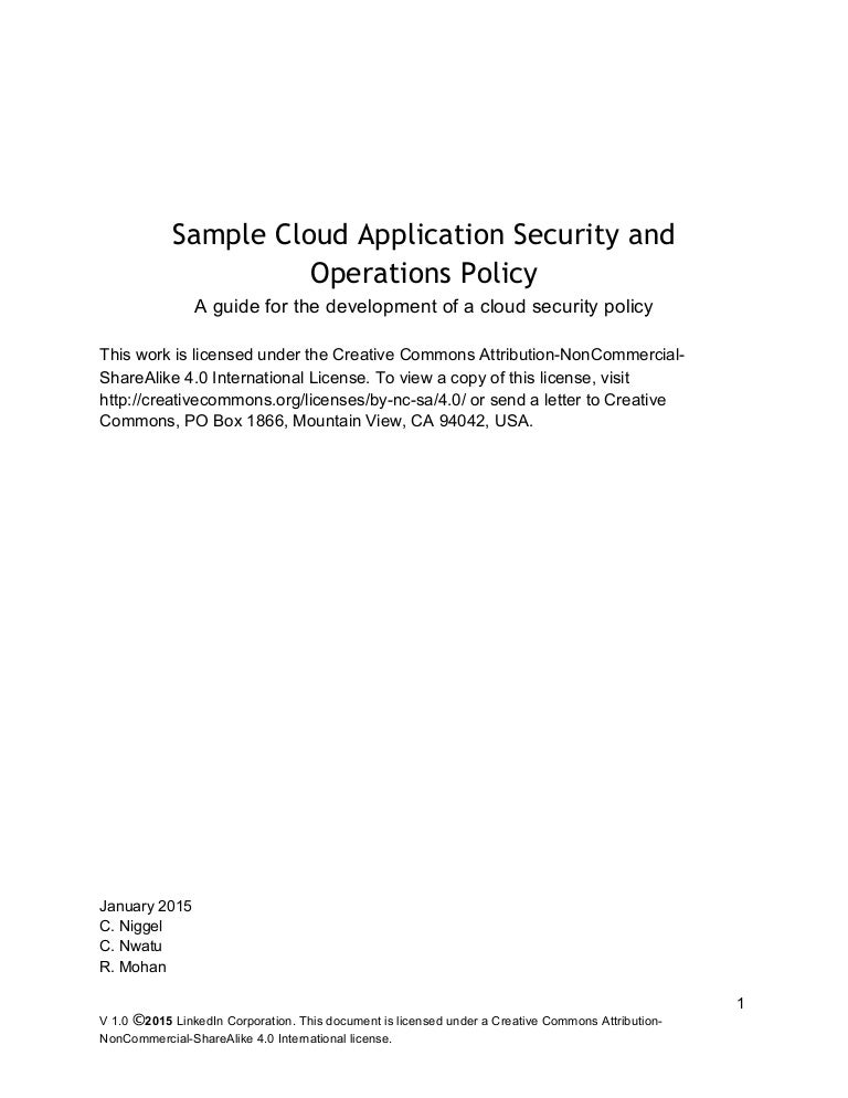 Sample Cloud Application Security And Operations Policy [Release]