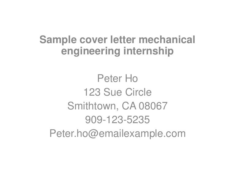 sample cover letter mechanical engineering internship