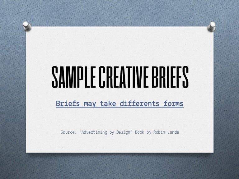 Sample Creative Briefs