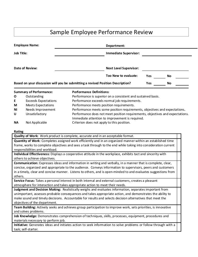 Sample employee performance review for Hr performance review template