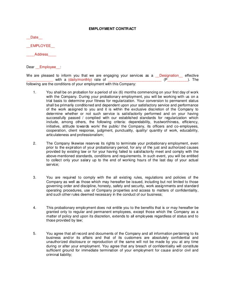 employment agreement samples