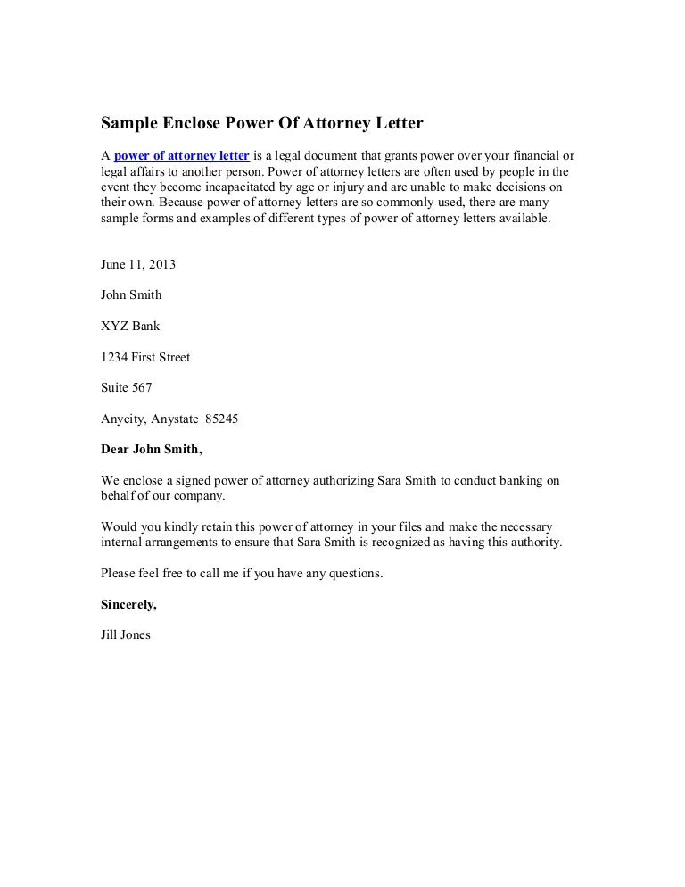 power of attorney letter template