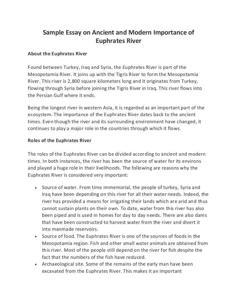 sample essay on ancient and modern importance of euphrates river