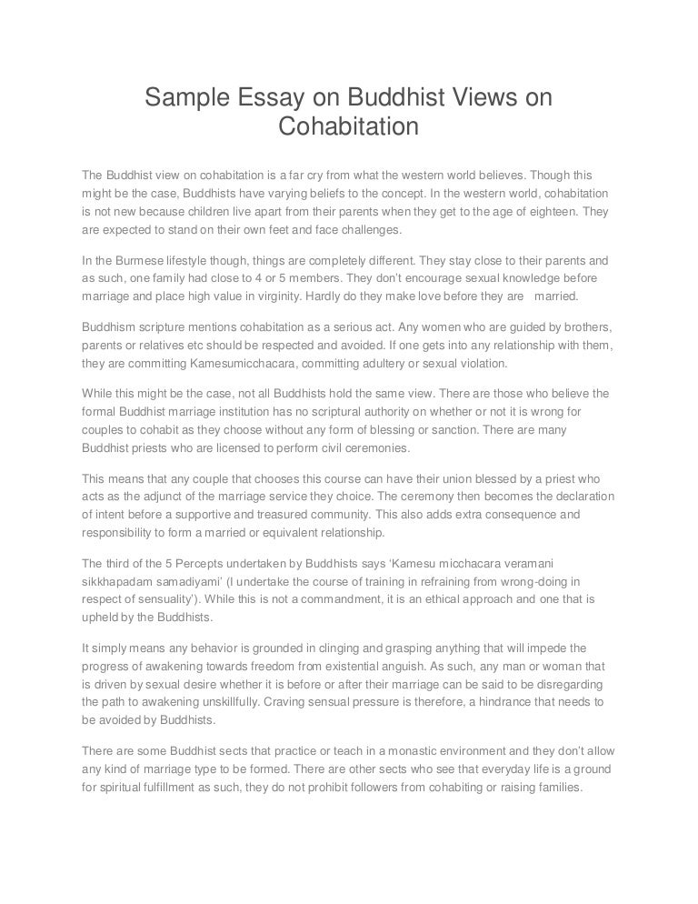 sample essay on buddhist views on cohabitation