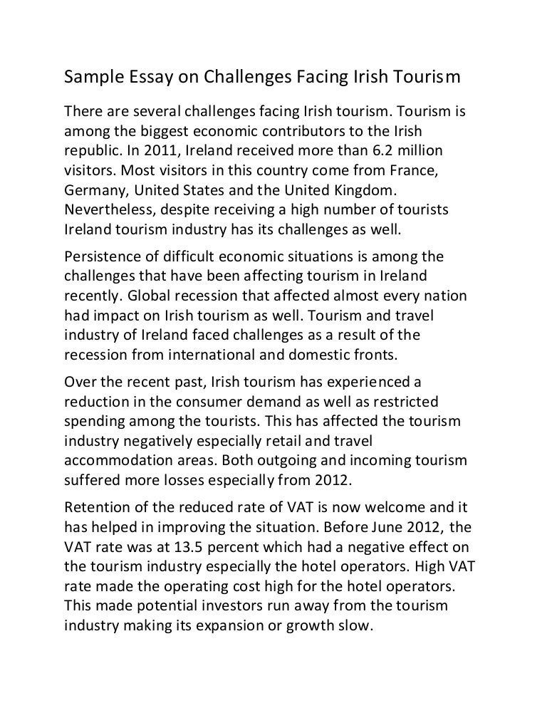 sample essay on challenges facing irish tourism