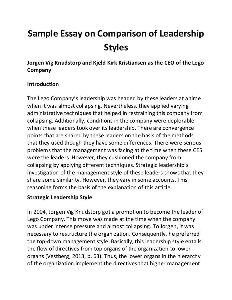sample essay on comparison of leadership styles