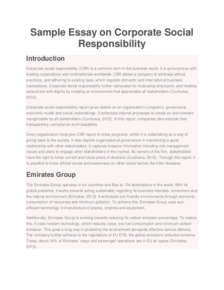sample essay on corporate social responsibility