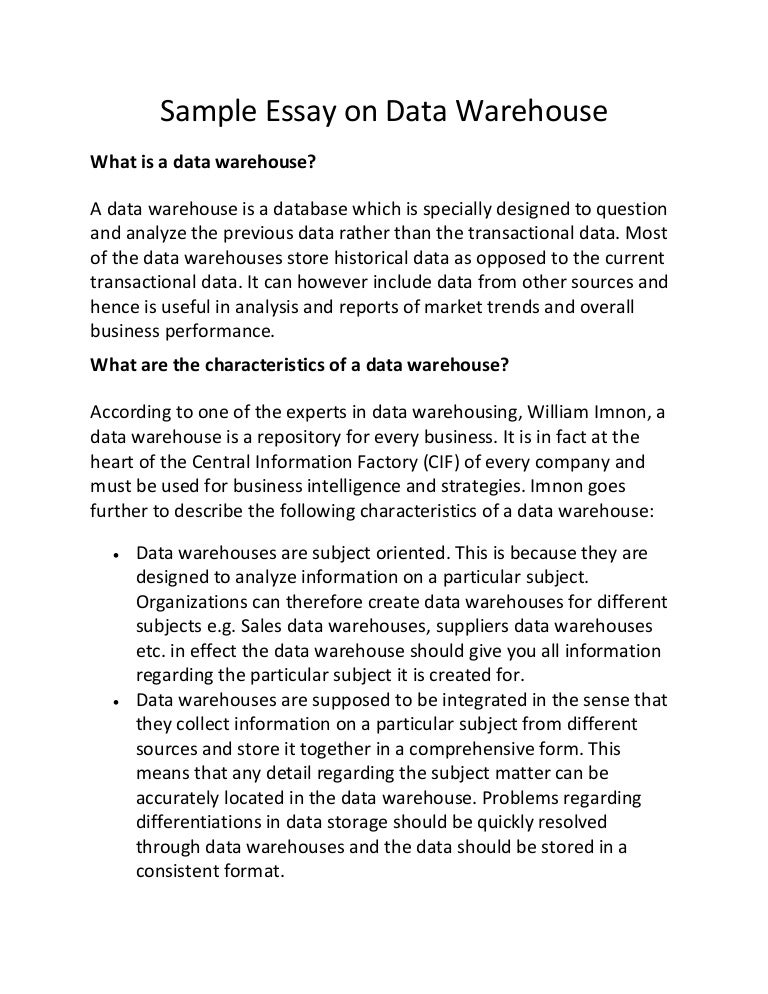 sample essay on data warehouse