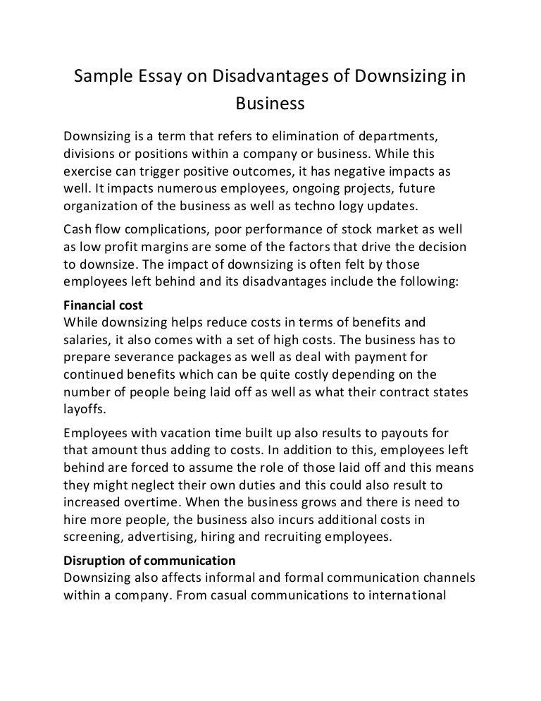 Narrative Essays Examples For High School Sampleessayondisadvantagesofdownsizinginbusinesslvaappthumbnailjpgcb Proposal Essay Sample also Family Business Essay Sample Essay On Disadvantages Of Downsizing In Business Science Essay Topics