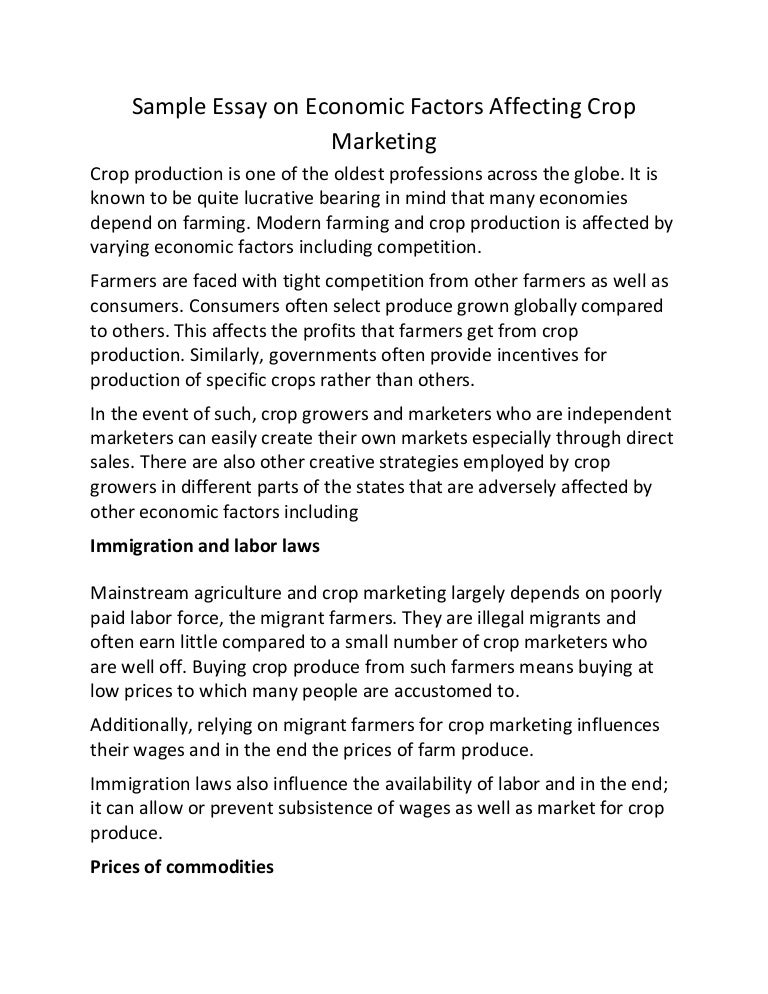 sample essay on economic factors affecting crop marketing
