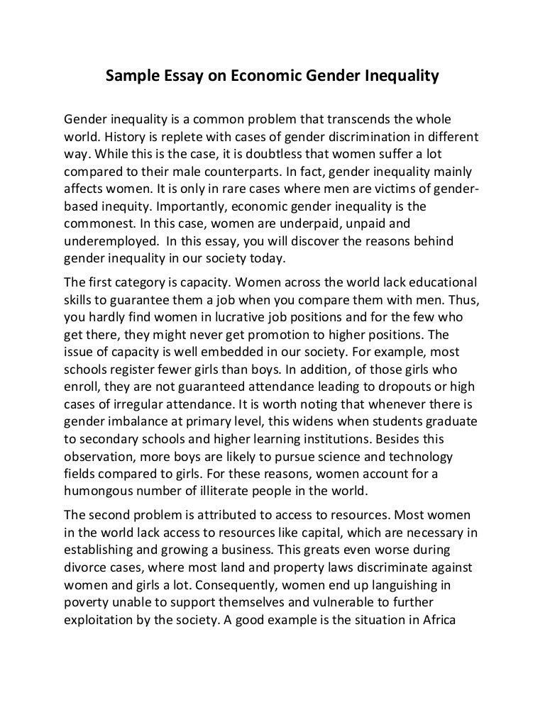 Persuasive essay about gender equality