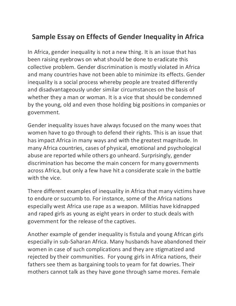 sample essay on effects of gender inequality in africa