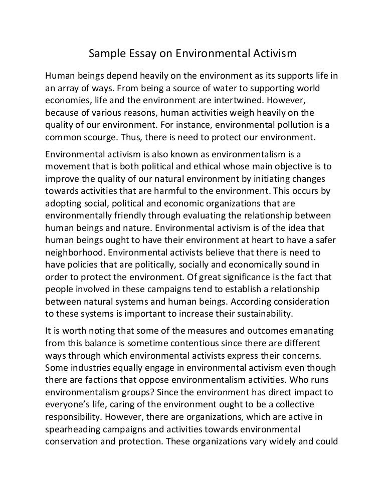 sample essay on environmental activism
