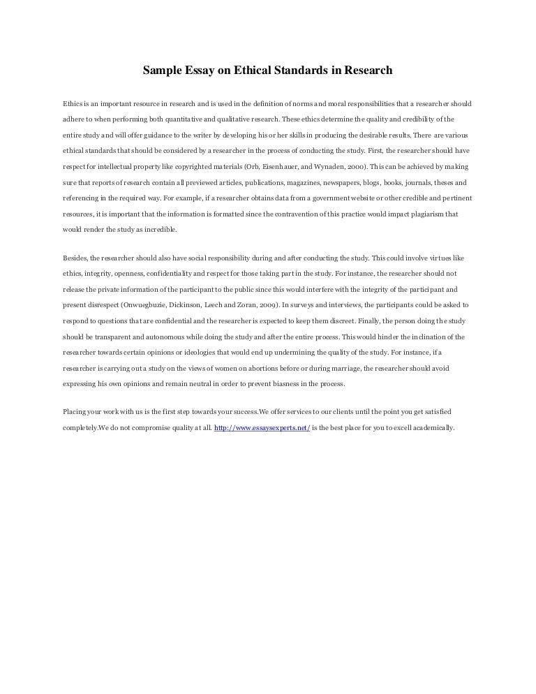 sample essay on ethical standards in research