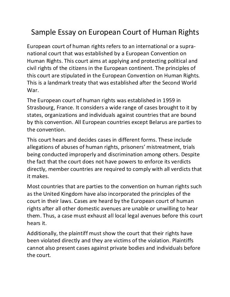 sample essay on european court of human rights