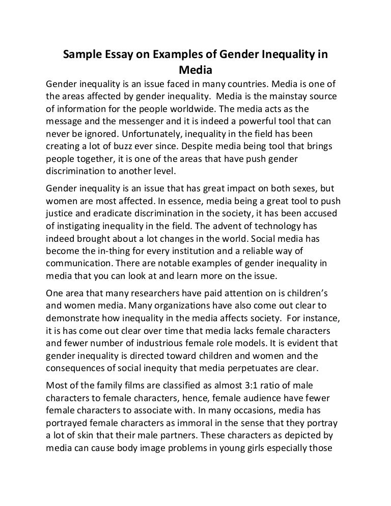 sample essay on examples of gender inequality in media