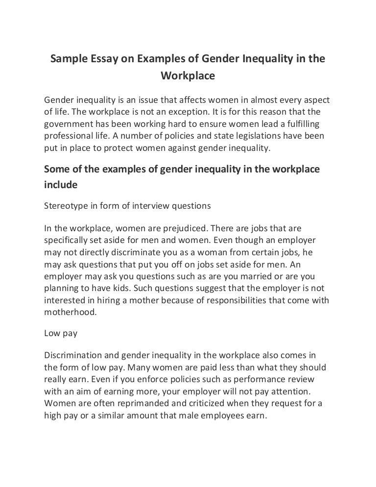 Equality Essay  Barcafontanacountryinncom Essays On Gender Inequality Sample Essay On Examples Of Gender
