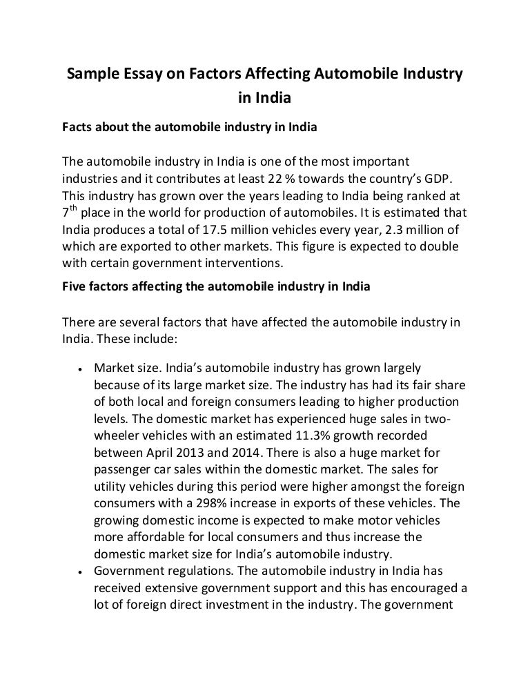 sample essay on factors affecting automobile industry in