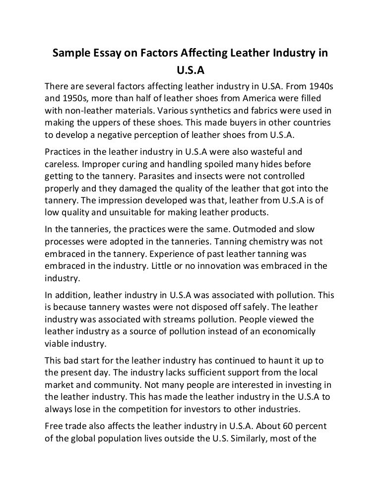 sample essay on factors affecting leather industry in u s a