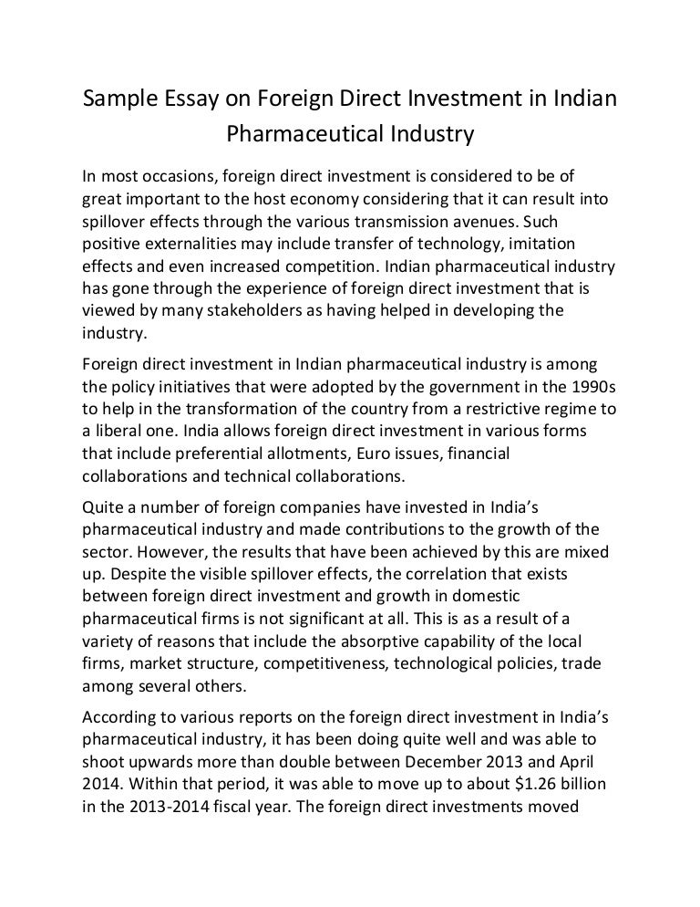 sample essay on foreign direct investment in n pharmaceutical in