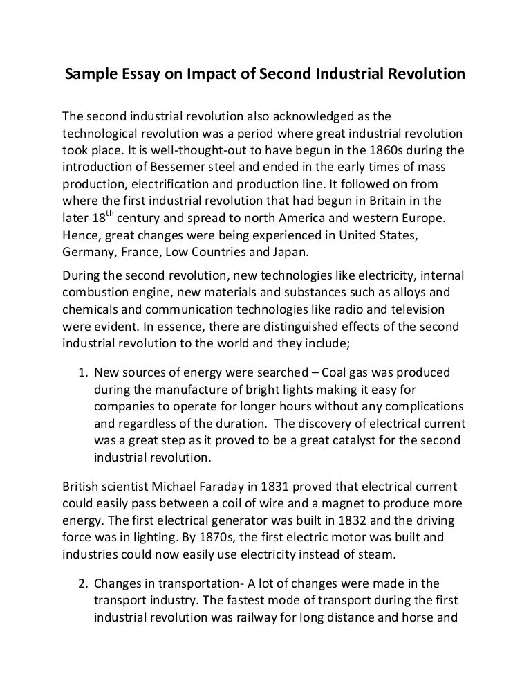 sample essay on impact of second industrial revolution