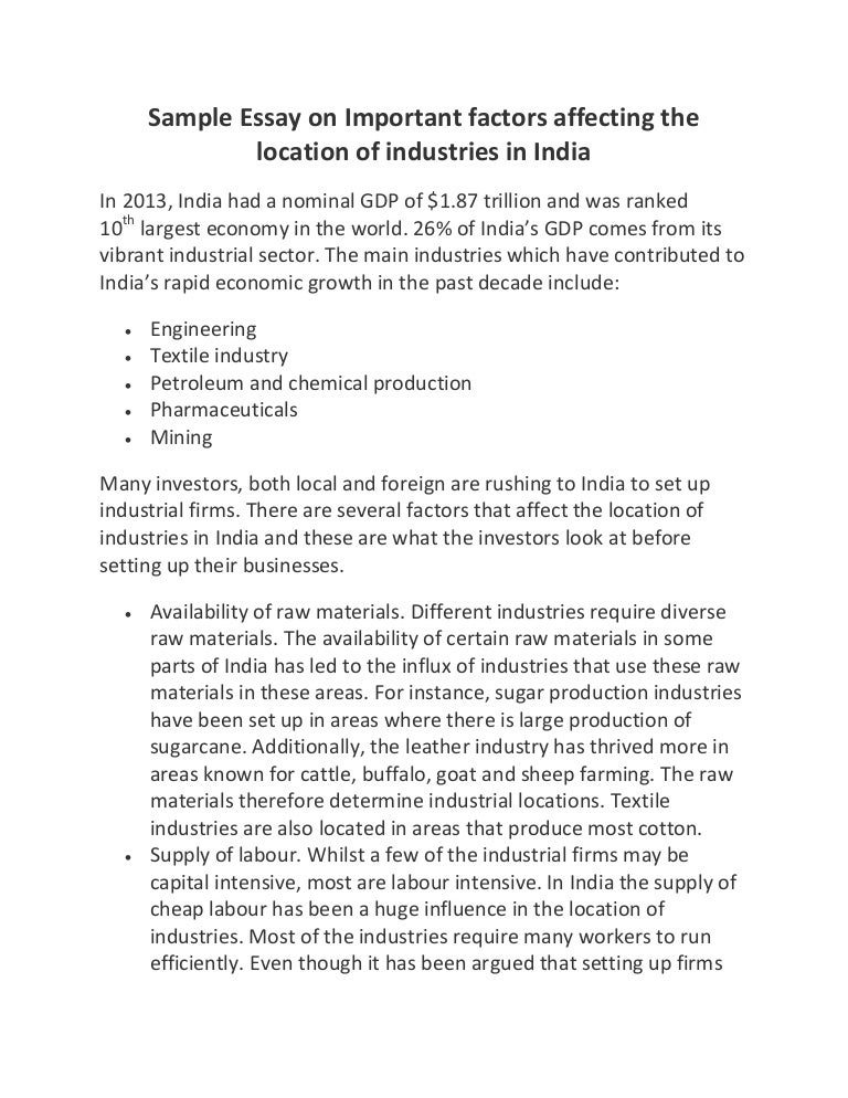 sample essay on important factors affecting the location of industrie