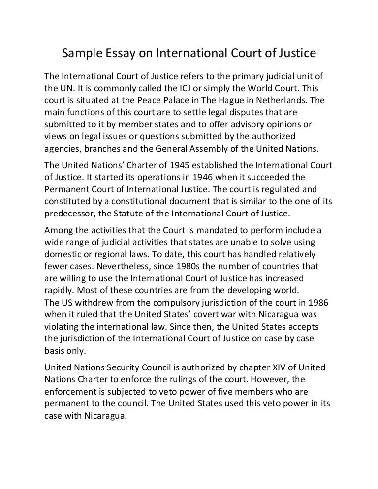 sample essay on international court of justice