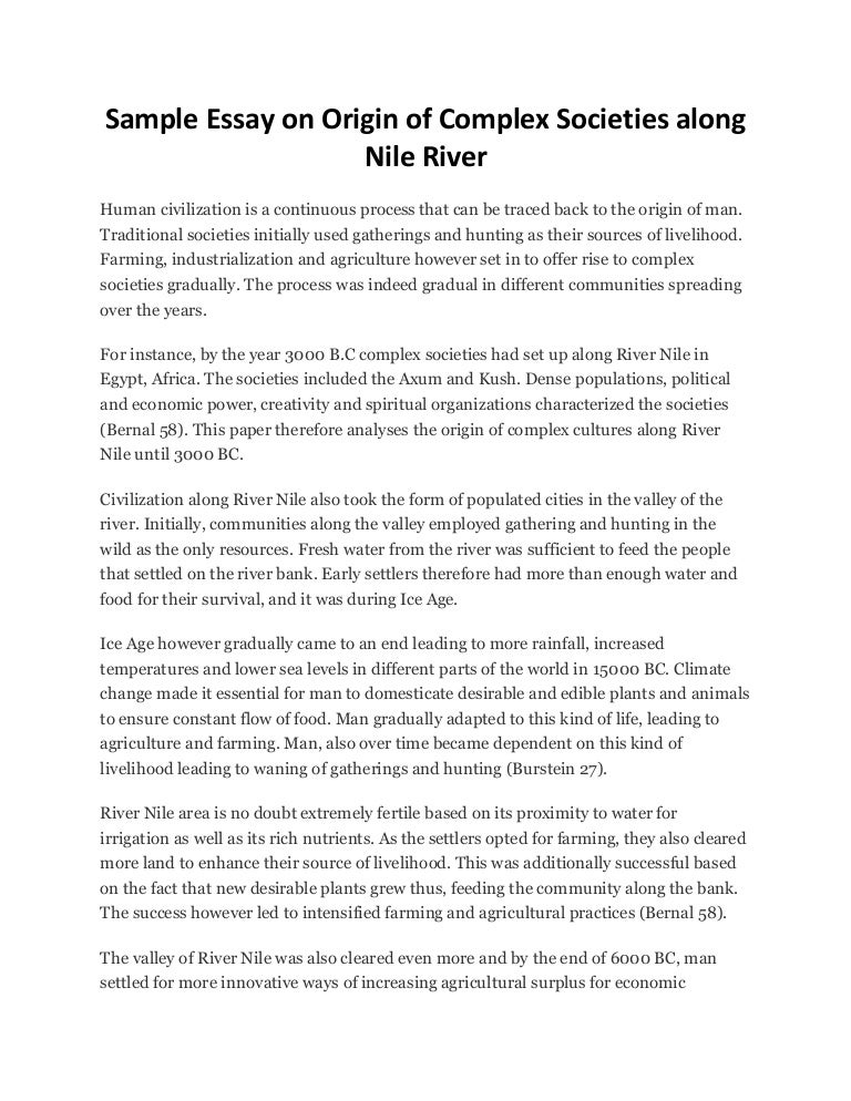 sample essay on origin of complex societies along nile river