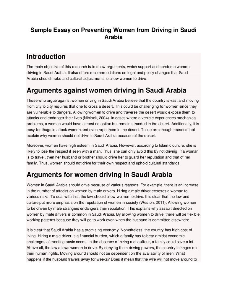 sample essay on preventing women from driving in saudi arabia