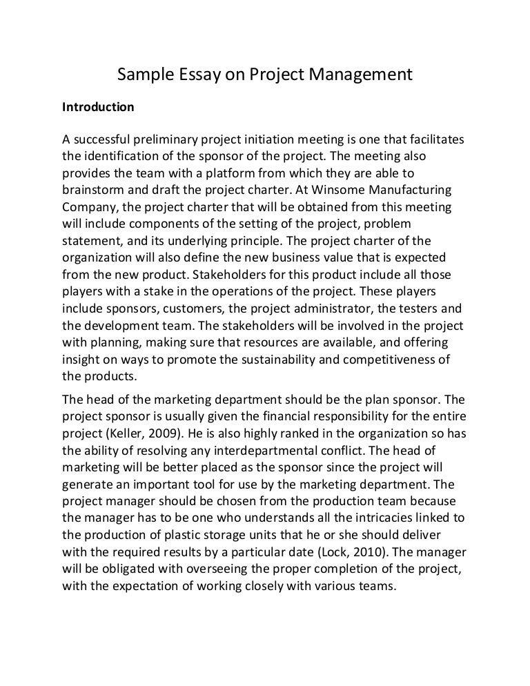 sample essay on project management