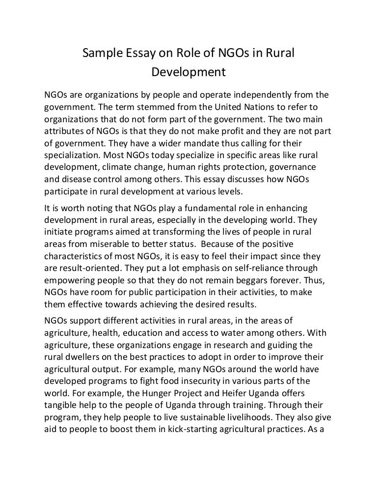 sample essay on role of ng os in rural development
