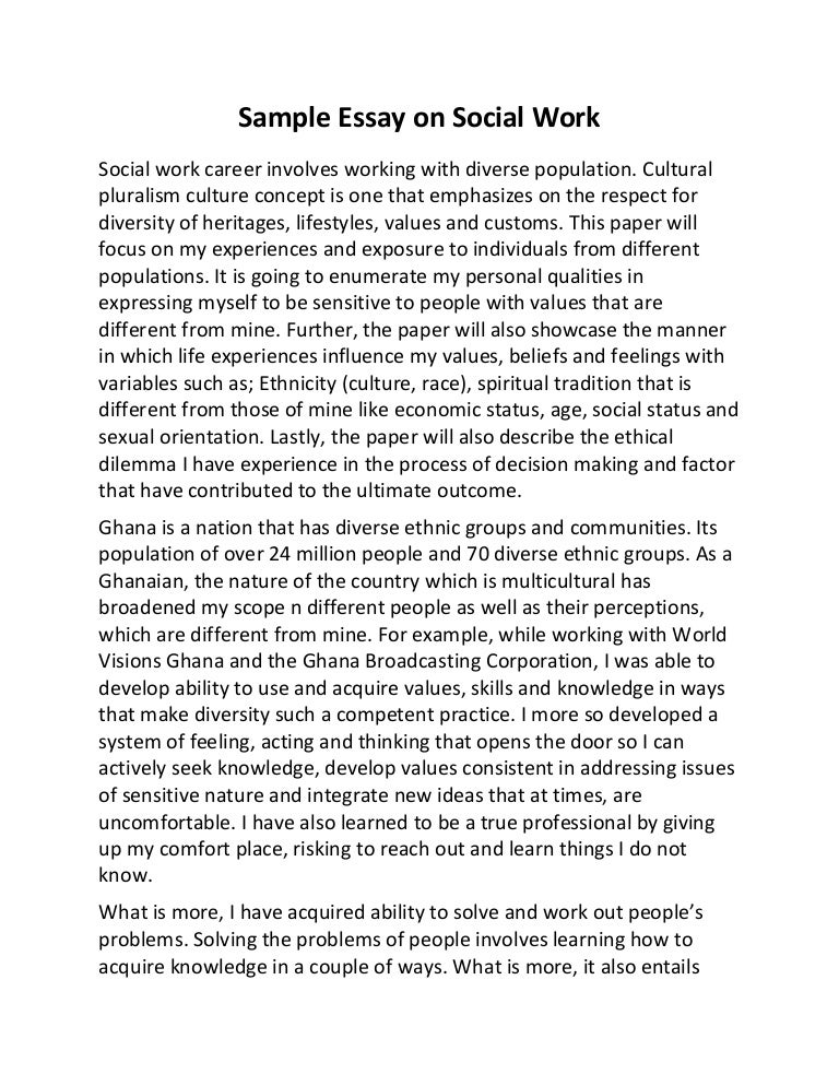 social work essay examples